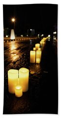 Candles On The Beach Hand Towel