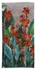 Hand Towel featuring the painting Cannas by Jamie Frier