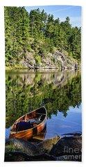 Canoe At Slim Lake Hand Towel