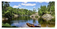 Canoe At The Portage Landing -- Slim Lake Hand Towel