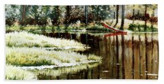 Canoe On Pond Hand Towel