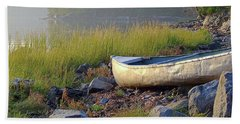 Canoe On The Rocks Hand Towel