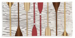 Canoe Paddles And Oars Over Wood Hand Towel