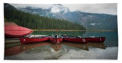 Canoes At Emerald Lake Bath Towel