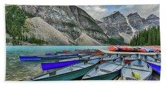 Canoes On Moraine Lake  Hand Towel