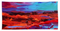 Bath Towel featuring the painting Canyon At Dusk - Art By Elise Palmigiani by Elise Palmigiani