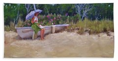 Hand Towel featuring the painting Cape Cod Weekend by Laura Lee Zanghetti