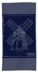 Hand Towel featuring the photograph Historic Cape Cod Windmill Blueprint by John Stephens