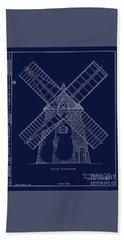 Bath Towel featuring the photograph Historic Cape Cod Windmill Blueprint by John Stephens