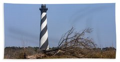 Cape Hatteras Lighthouse With Driftwood Hand Towel