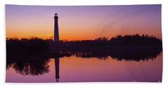Cape May Lighthouse At Blue Hour  Hand Towel