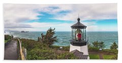 Hand Towel featuring the photograph Cape Meares Bright by Darren White