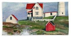 Cape Neddic Lighthouse  Hand Towel