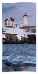 Cape Neddick Light At Dusk, York, Maine 21073 Hand Towel