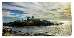 Cape Neddick Lighthouse Bath Towel by Sherman Perry