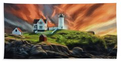 Hand Towel featuring the digital art Cape Neddick Nubble Lighthouse by Lois Bryan