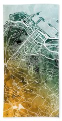 Cape Town South Africa City Street Map Bath Towel