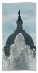 Capital Dome Behind Fountain Bath Towel
