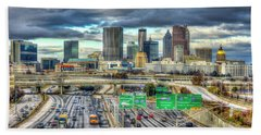 Capital Of The South Atlanta Skyline Cityscape Art Hand Towel