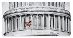 Hand Towel featuring the photograph Capitol Flag by John Schneider
