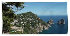 Faraglioni Rocks Capri  Hand Towel by Loriannah Hespe