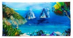 Bath Towel featuring the painting Capri Colors by Elise Palmigiani