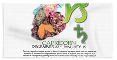 Capricorn Sun Sign Hand Towel by Shelley Overton