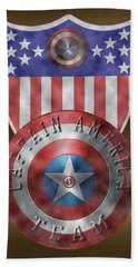 Bath Towel featuring the painting Captain America Shields On Gold  by Georgeta Blanaru