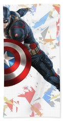 Bath Towel featuring the mixed media Captain America Splash Super Hero Series by Movie Poster Prints