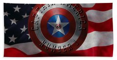 Bath Towel featuring the painting Captain America Typography On Captain America Shield  by Georgeta Blanaru