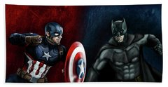 Captain America Vs Batman Hand Towel by Vinny John Usuriello