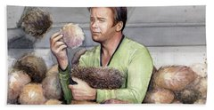 Captain Kirk And Tribbles Hand Towel by Olga Shvartsur