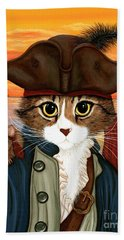 Hand Towel featuring the painting Captain Leo - Pirate Cat And Rat by Carrie Hawks