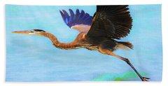 Captiva Crane In Flight Bath Towel by Robert FERD Frank