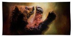 Capturing The Sun Bear Art Hand Towel by Jai Johnson