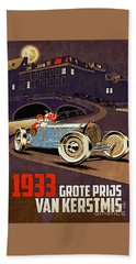Car Racing Christmas Poster Of The 30s Hand Towel