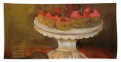 Caramel Apple Plate And Valentines Cookies Painting By Lisa Kaiser Bath Towel