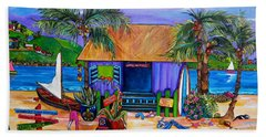 Hand Towel featuring the painting Cara's Island Time by Patti Schermerhorn