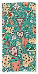 Card Game Symbols With Faces In Green Hand Towel