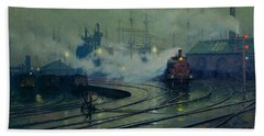 Cardiff Docks Hand Towel by Lionel Walden