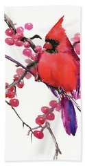 Cardinal And Berries Hand Towel