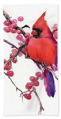 Cardinal And Berries Bath Towel