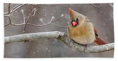 Cardinal And Falling Snow Hand Towel