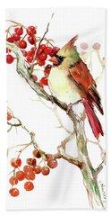 Cardinal Bird And Berries Hand Towel by Suren Nersisyan