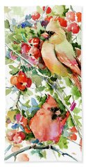 Cardinal Birds And Hawthorn Hand Towel