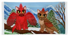 Cardinal Cats Hand Towel by Carrie Hawks