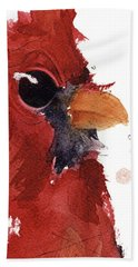 Hand Towel featuring the painting Cardinal by Dawn Derman