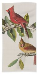 Cardinal Grosbeak Hand Towel by John James Audubon
