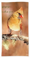 Bath Towel featuring the photograph Cardinal Happy Holidays by Debbie Stahre