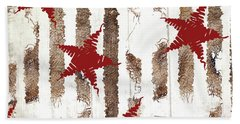 Cardinal Holiday Burlap Star Pattern Hand Towel